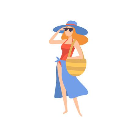 Chica en traje de baño, pareo, gafas de sol y sombrero, hermosa joven disfrutando de las vacaciones de verano en la ilustración de Vector de orilla del mar sobre fondo blanco. Ilustración de vector