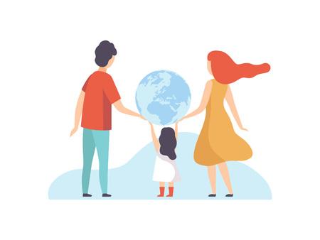 Familia sosteniendo gran globo terráqueo, madre, padre y su pequeña hija con globo terrestre, Ilustración de Vector de vista posterior sobre fondo blanco.