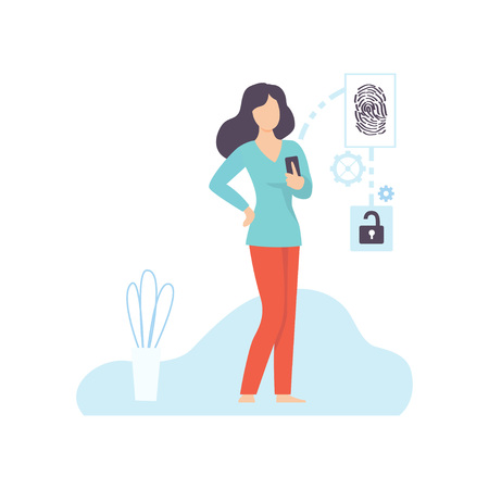 Young Woman Using Gadget with Biometric Scanning Technology, Biometric Identification Vector Illustration on White Background. Standard-Bild - 128164234