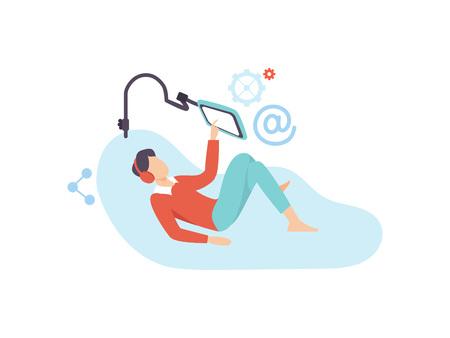 Giovane uomo rilassante sul divano con gadget digitali e cuffie illustrazione vettoriale su sfondo bianco. Vettoriali