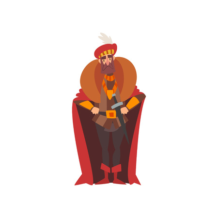 European Majestic Nobleman or King, Medieval Historical Cartoon Character in Traditional Costume Vector Illustration on White Background.
