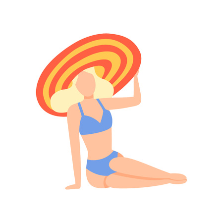 Blonde Girl in Blue Swimsuit and Hat Sitting on Beach, Beautiful Young Woman Enjoying Summer Vacation on Seashore Vector Illustration on White Background. Иллюстрация