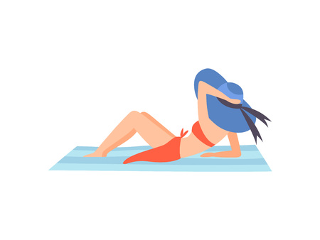 Girl in Red Swimsuit and Blue Hat Lying on Beach, Beautiful Young Woman Enjoying Summer Vacation on Seashore Vector Illustration on White Background.