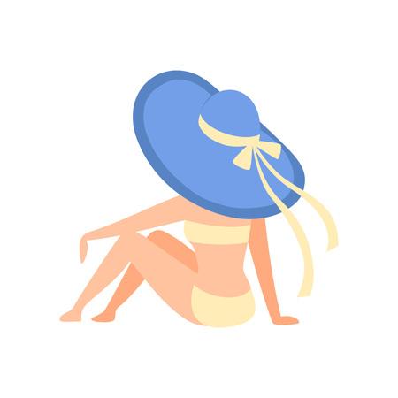 Chica en traje de baño amarillo y sombrero azul tomando el sol en la playa, vista posterior, hermosa mujer joven disfrutando de las vacaciones de verano en la ilustración de Vector de orilla del mar sobre fondo blanco. Ilustración de vector