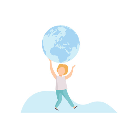Cute Boy Holding Big Terrestrial Globe Over His Head Vector Illustration on White Background. Illustration
