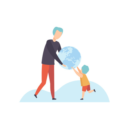 Young Man and Cute Boy Holding Terrestrial Globe, Father Giving Earth Globe to His Son Vector Illustration on White Background. Illustration