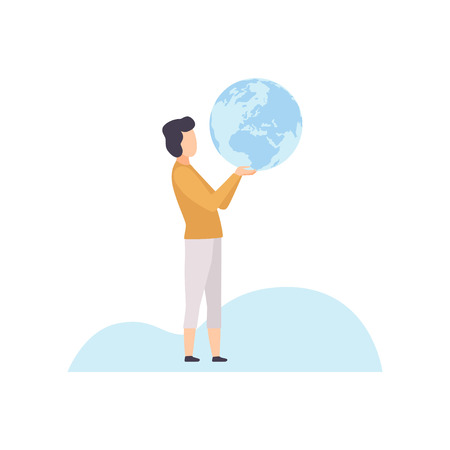 Young Man Holding Terrestrial Globe in His Hands Vector Illustration on White Background. Illustration