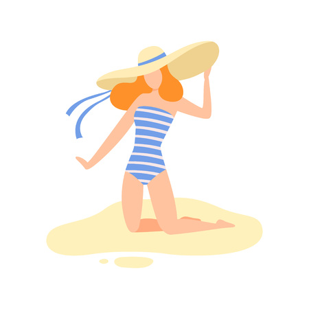 Girl in Striped Swimsuit and Straw Hat on Sitting Sandy Beach, Beautiful Young Woman Enjoying Summer Vacation on Seashore Vector Illustration on White Background.
