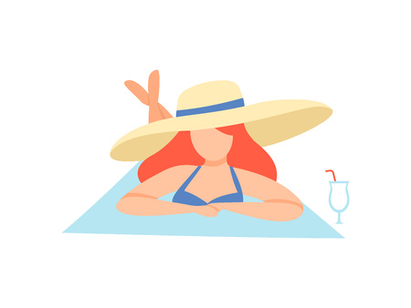 Girl in Swimsuit and Straw Hat Sunbathing on Beach, Beautiful Young Woman Enjoying Summer Vacation on Seashore Vector Illustration on White Background. 일러스트