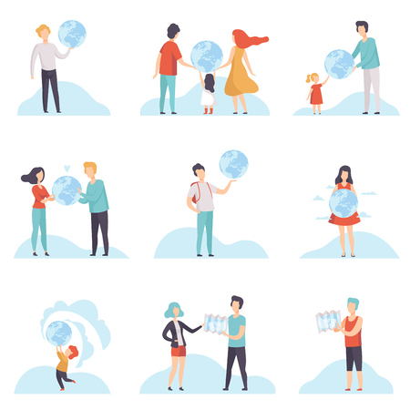 People with Globes and Maps Set, Men, Women and Kids Holding Terrestrial Globe and Map Vector Illustration on White Background.