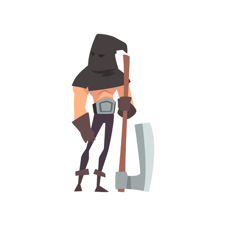 Male Executioner with Black Headwear and Axe, Medieval Historical Cartoon Character in Traditional Costume Vector Illustration 일러스트