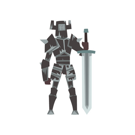 Knight in Full Body Armor Suit with Sword, Medieval Historical Cartoon Character in Traditional Costume Vector Illustration