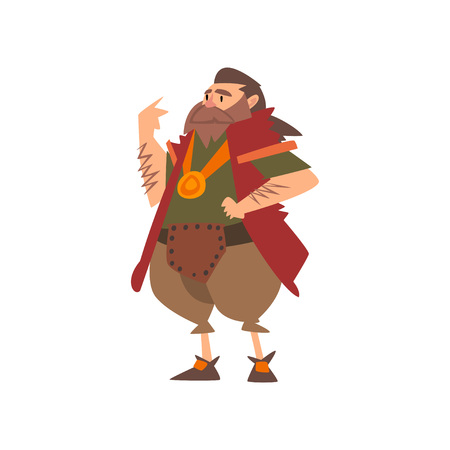 Barbarian Leader, Medieval Historical Cartoon Character in Traditional Costume Vector Illustration on White Background.