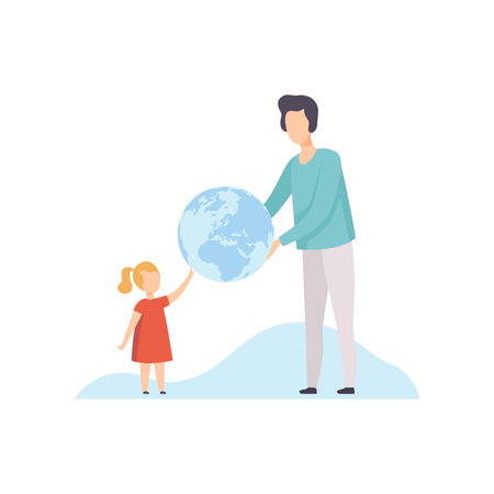Young Man and Cute Girl Holding Big Terrestrial Globe, Father Giving Earth Globe to His Daughter Vector Illustration on White Background.
