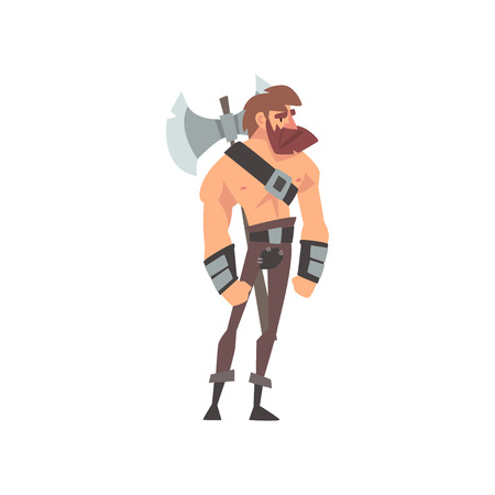 Bearded Muscular Barbarian Warrior with Axe, Medieval Historical Cartoon Character in Traditional Costume Vector Illustration on White Background. Vector Illustration