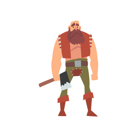 Muscular Barbarian Warrior with Axe, Medieval Historical Cartoon Character in Traditional Costume Vector Illustration on White Background. Иллюстрация