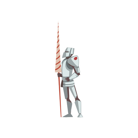 Knight in Full Body Armor Suit, Medieval Historical Cartoon Character in Traditional Costume Vector Illustration