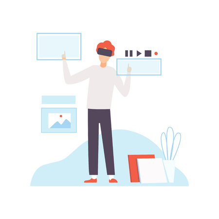 Man in VR Goggle Headset, Helmet Working with Touching Virtual Reality Interface, Modern Virtual Technologies, Innovative Gadget Vector Illustration on White Background. Vektorgrafik