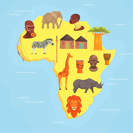 Africa Map, Symbols of African Continent with Wild Animals, Aborigines Vector Illustration in Flat Style.