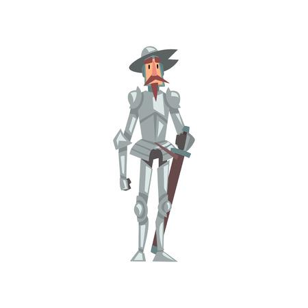 Caballero en traje de armadura y sombrero con espada, personaje de dibujos animados histórico medieval en traje tradicional ilustración vectorial