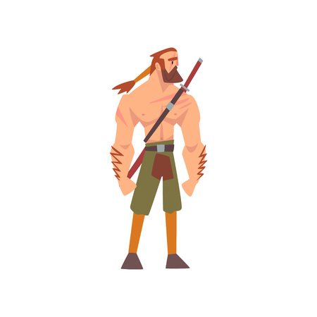 Muscular Barbarian Warrior with Sword, Medieval Historical Cartoon Character in Traditional Costume Vector Illustration on White Background.