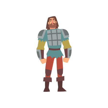 Barbarian Warrior on Amour, Medieval Historical Cartoon Character in Traditional Costume Vector Illustration on White Background.