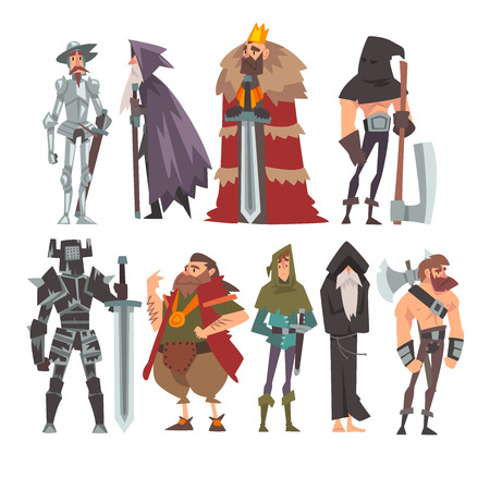 Medieval Historical Cartoon Characters in Traditional Costumes Set, Warrior, King, Knight, Wizard, Monk, Executioner Vector Illustration on White Background.