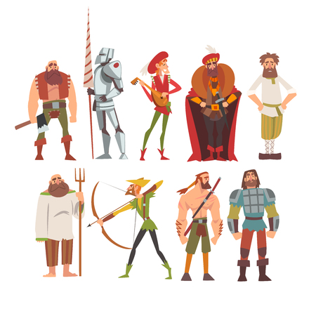 Medieval Historical Cartoon Characters in Traditional Costumes Set, Peasant, Warrior, Nobleman, Archer, Musician, Peasant Vector Illustration on White Background.