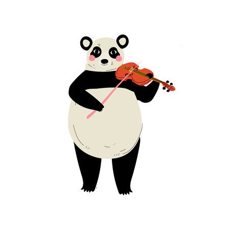 Panda Bear Playing Violin, Cute Cartoon Animal Musician Character Playing Musical Instrument Vector Illustration on White Background.
