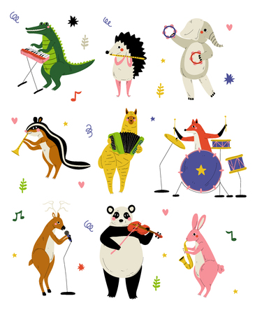 Collection of Cute Cartoon Animals Musicians Characters Playing Various Musical Instruments, Crocodile, Hedgehog, Elephant, Gopher, Alpaca, Deer, Panda Bear, Bunny, Fox Vector Illustration