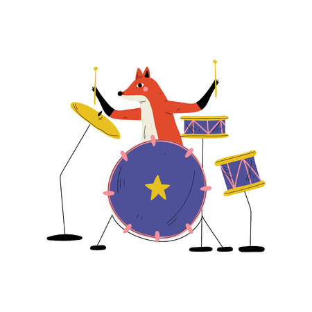 Fox Playing Drums, Cute Cartoon Animal Musician Character Playing Percussion Musical Instrument Vector Illustration Imagens - 124597418