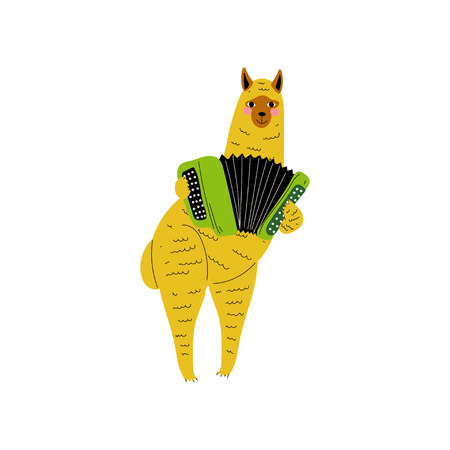 Alpaca Playing Accordion, Cute Cartoon Animal Musician Character Playing Musical Instrument Vector Illustration on White Background.