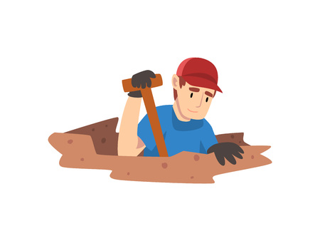 Male Archaeologist Digging Soil Layers, Scientist Working on Excavations Vector Illustration Illustration