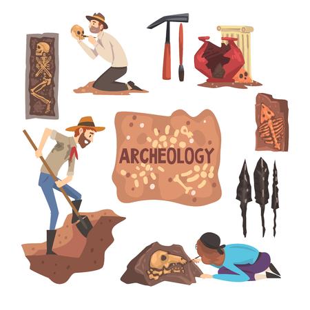 Conjunto de arqueología y paleontología, científico trabajando en excavaciones, artefactos arqueológicos ilustración vectorial