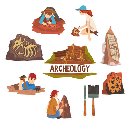 Archeology and Paleontology Set, Scientist Working on Excavations, Archaeological Artifacts and Tools Vector Illustration Иллюстрация