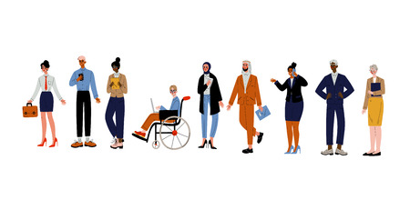 Geschäftsleute Set, Gruppe verschiedener Büroangestellter, Unternehmer oder Manager Charaktere Vektor-Illustration auf weißem Hintergrund. Vektorgrafik