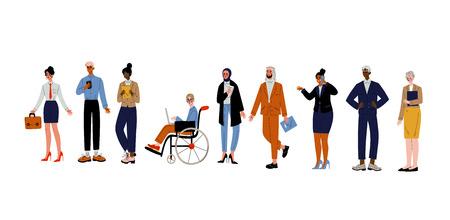 Set di persone d'affari, gruppo di vari impiegati d'ufficio, imprenditori o manager caratteri illustrazione vettoriale su sfondo bianco. Vettoriali