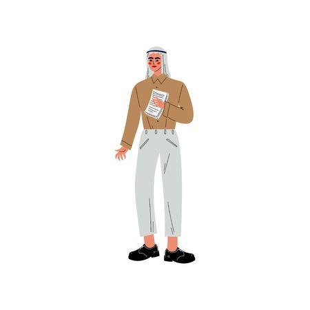 Arabischer Geschäftsmann, Büroangestellter, Unternehmer oder Manager-Charakter-Vektor-Illustration auf weißem Hintergrund.