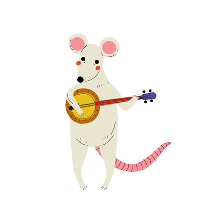 Mouse Playing Domra, Cute Cartoon Animal Musician Character Playing Musical Instrument Vector Illustration on White Background.