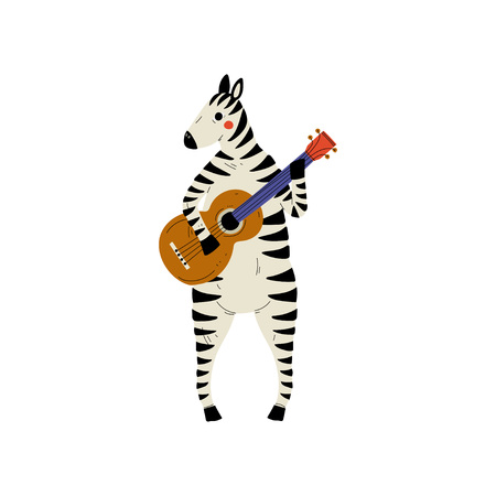 Zebra Playing Guitar, Cute Cartoon Animal Musician Character Playing Acoustic Musical Instrument Vector Illustration on White Background.