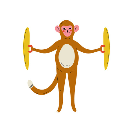 Monkey Playing Cymbals, Cute Cartoon Animal Musician Character Playing Musical Instrument Vector Illustration on White Background.