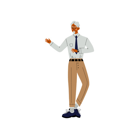 Senior Business Man, Boss, Office Employee, Entrepreneur or Manager Character Vector Illustration on White Background.