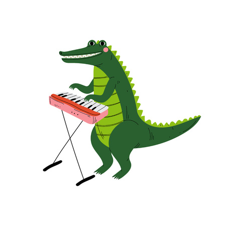 Crocodile Playing Piano, Cute Cartoon Animal Musician Character Playing Musical Instrument Vector Illustration Illustration