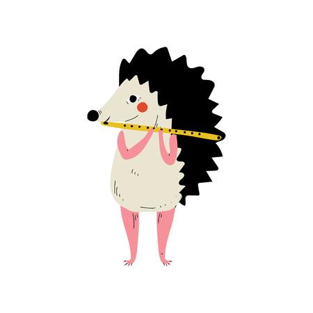 Igel spielt Flöte, niedlicher Cartoon-Tiermusiker-Charakter, der Musikinstrument-Vektor-Illustration auf weißem Hintergrund spielt