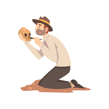 Male Archaeologist Sweeping Dirt from Human Skull, Scientist Working on Excavations Vector Illustration