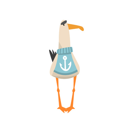 Seagull Sailor, Funny Bird Cartoon Character Wearing Blue Sweater with Anchor, Front View Vector Illustration on White Background.