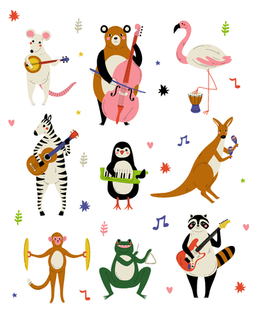 Collection of Cute Cartoon Animals Musicians Characters Playing Various Musical Instruments Vector Illustration