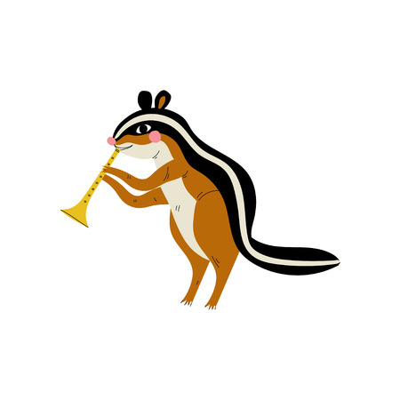 Gopher Playing Trumpet, Cute Cartoon Animal Musician Character Playing Musical Instrument Vector Illustration Иллюстрация