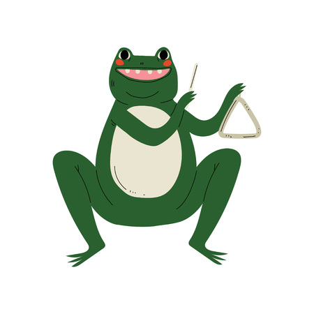 Frog Playing Triangle, Cute Cartoon Animal Musician Character Playing Musical Instrument Vector Illustration