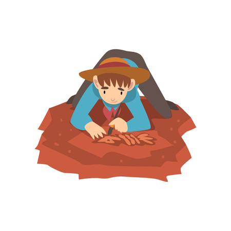 Male Archaeologist Lying on Ground and Sweeping Dirt from Bones of Skeleton Using Small Brush, Paleontology Scientist Working on Excavations Vector Illustration